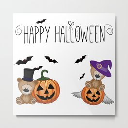 Halloween Teddy Bears Metal Print