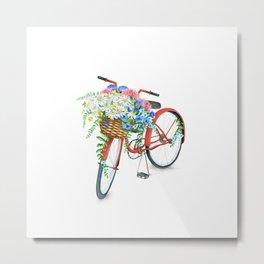 Vintage Red Bicycle with Flowers Metal Print