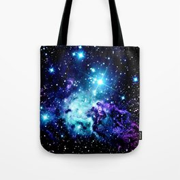 Fox Fur Nebula Turquoise Blue Purple Black Tote Bag