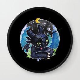 Baby Toothless Night Fury Dragon Watercolor black bg Wall Clock