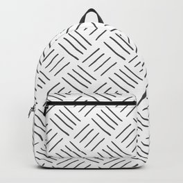 Gray and White Cross Hatch Design Pattern Backpack