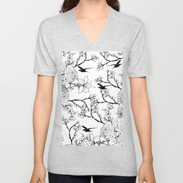 Simple vintage style black white bird floral drawing Unisex V-Neck