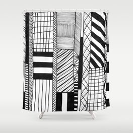 Mono Geo Lines Shower Curtain