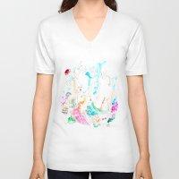 mermaids V-neck T-shirts featuring Mermaids  by Julie Lehite
