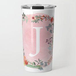 Flower Wreath with Personalized Monogram Initial Letter J on Pink Watercolor Paper Texture Artwork Travel Mug