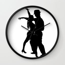 Dance with me - Ink Painting Wall Art Home Decor Black and White Music Illustration Dance Salsa Wall Clock