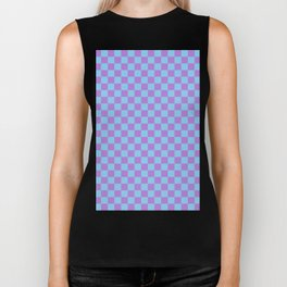 Lavender Violet and Baby Blue Checkerboard Biker Tank