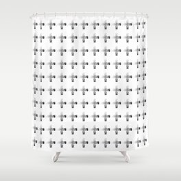 Smudgy Painted Cross Minimalist Monochromatic Black Grey and White Pattern Shower Curtain