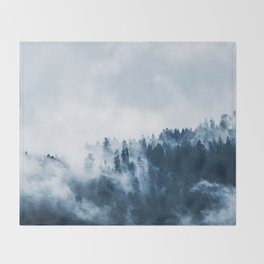 CLOUDS - WHITE - FOG - TREES - FOREST - LANDSCAPE - NATURE - TIMBER - WOODS - PHOTOGRAPHY Throw Blanket