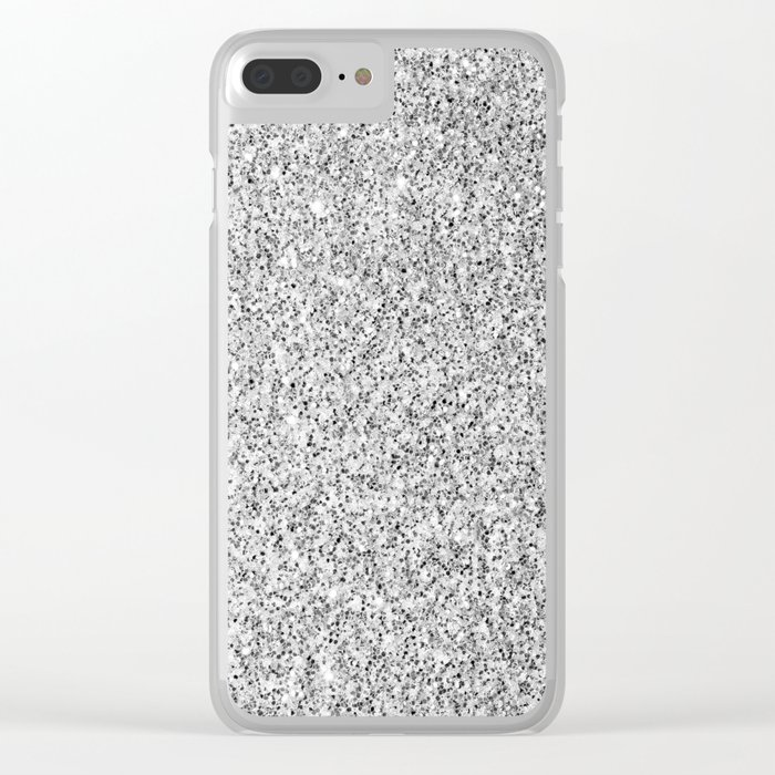 Beautiful Silver glitter sparkles Clear iPhone Case