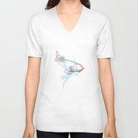 quibe V-neck T-shirts featuring One line Koi Fish by quibe