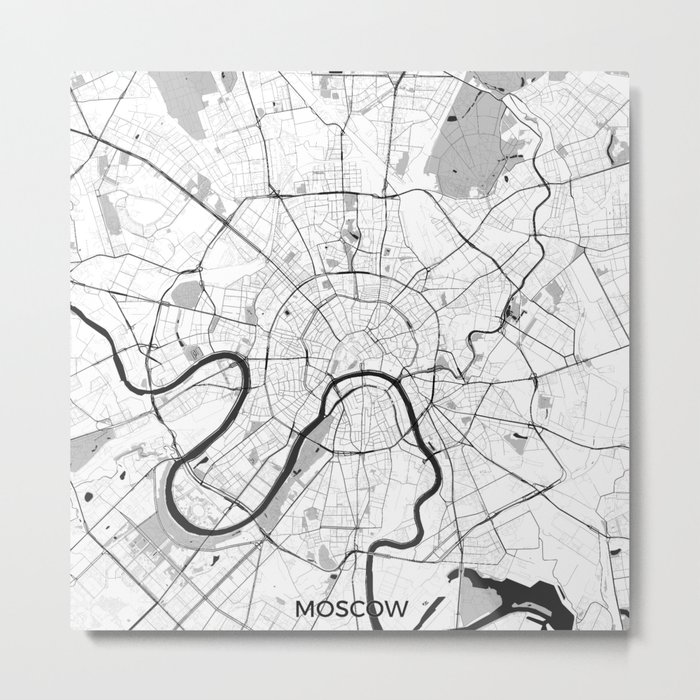 Moscow Map Gray Metal Print