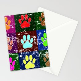 Distressed Dog Paws In Squares Stationery Cards