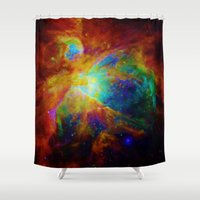 nebula Shower Curtains featuring Orion NEBula  : Colorful Galaxy by 2sweet4words Designs