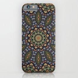 olive green ornament, kaleidoscope, mandala, ethnic pattern iPhone Case