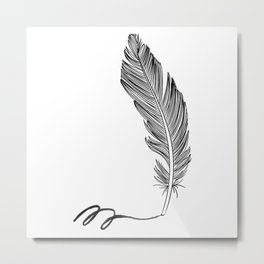 Feather and watercolor Metal Print