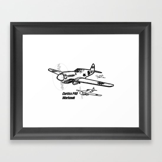 Curtiss P40 Warhawk line drawing Framed Art Print