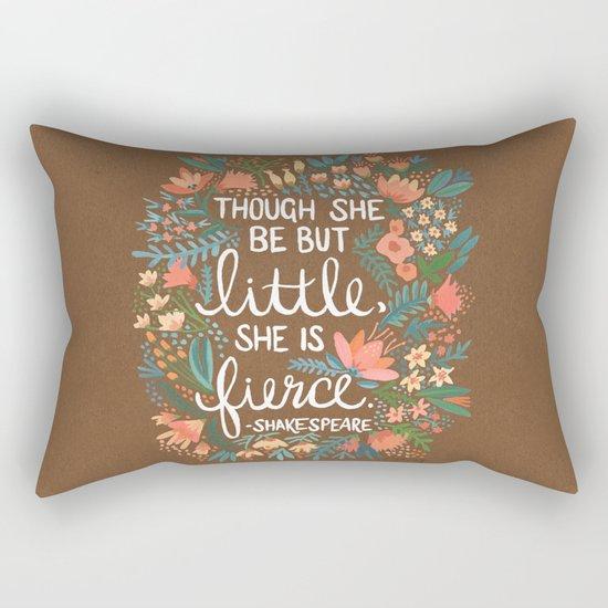 Little & Fierce on Kraft Rectangular Pillow