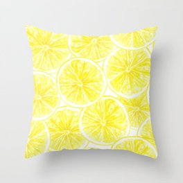 Lemon slices pattern watercolor Throw Pillow