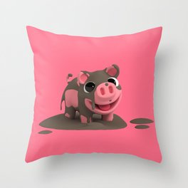 Rosa the Pig loves the Mud Throw Pillow