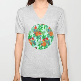 Pineapples and Parrots Tropical Summer Pattern Unisex V-Neck