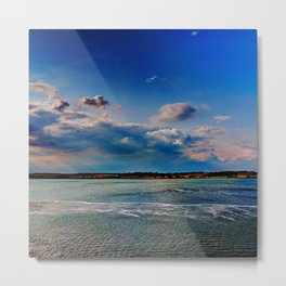 Leaving Harwich, peaceful seascape with dramatic god-rays Metal Print