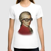 mozart T-shirts featuring Funny Hipster Mozart by Paul Stickland for StrangeStore