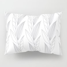 Growing Leaves: Silver Gray – White background Pillow Sham