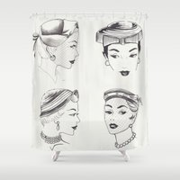 hats Shower Curtains featuring Vintage Hats  by Little Bunny Sunshine