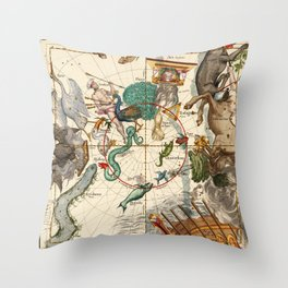 Centaurus, Indus, Chamaeleon, Eridanus, Lupulus, Api, Grus, Phoenix And Other Constellations Throw Pillow