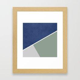 Navy Sage Gray Geometric Framed Art Print
