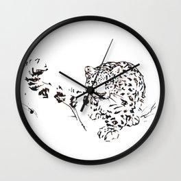 Ink Snow Leopard Wall Clock