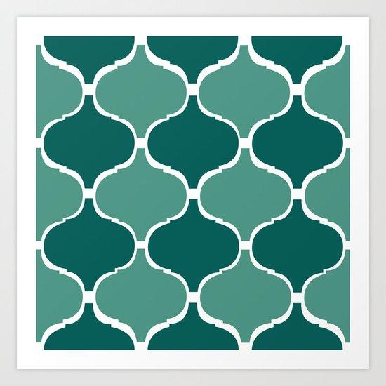 Marrakech Pattern Dark Green Art Print