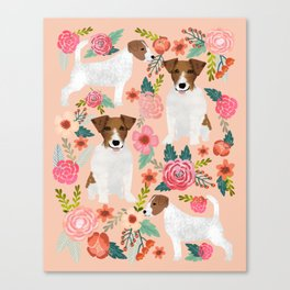Jack Russell Terrier florals cute pastel flowers gardener with dog pet lover dog art pet portraits  Canvas Print