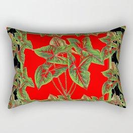 Decorative  Tropical Botanical Green Foliage Red-Black Art Rectangular Pillow