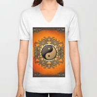ying yang V-neck T-shirts featuring Ying and yang by nicky2342