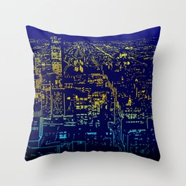 Chicago city lights at night Throw Pillow