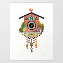 Woodland Cuckoo Clock Art Print