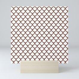 Scales (Brown & White Pattern) Mini Art Print