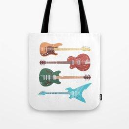 Retro Bass Guitar Tote Bag