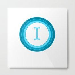 Blue letter I Metal Print