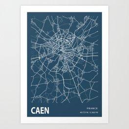 Caen Blueprint Street Map, Caen Colour Map Prints Art Print