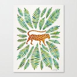 Jaguar – Green Leaves Canvas Print