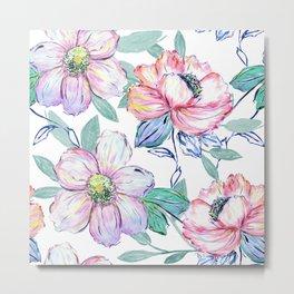 Romantic watercolor flowers hand paint design Metal Print