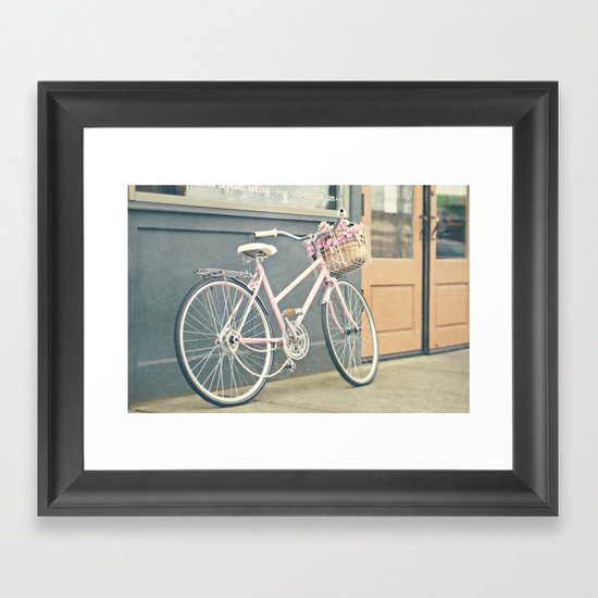 Pink bicycle Framed Art Print