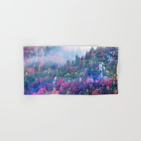 Fog over a colorful fall mountain forest Hand & Bath Towel