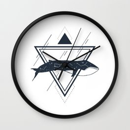Cosmic Whale. Geometric Style Wall Clock