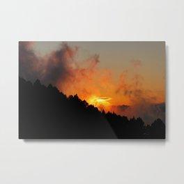 Stormy Dramatic Sunset Mountain Landscape Metal Print
