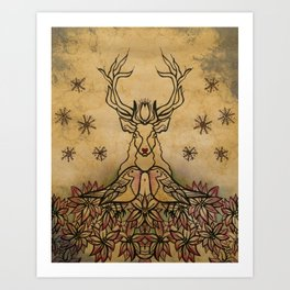 Reindeer and Robin - Christmas  Art Print