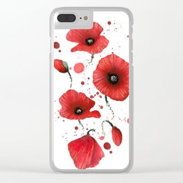 Poppies splatters Clear iPhone Case